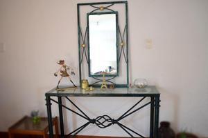 Antiguo Recibidor De Fierro Y Bronce Con Espejo