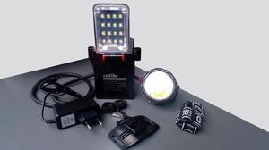 Lámpara minera CAFINI LED doble linterna recargable, con