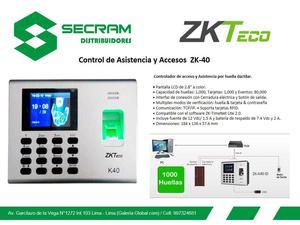 Control de Asistencia y Accesos ZK40
