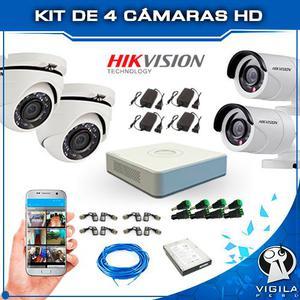 Kit Completo de 4 Cámaras Hd Hikvision