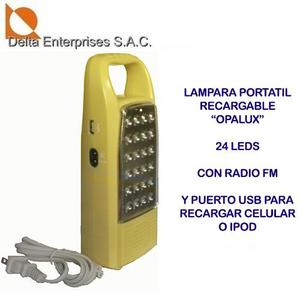 Lampara Portatil Recargable Con Radio Fm Y Cargador Usb
