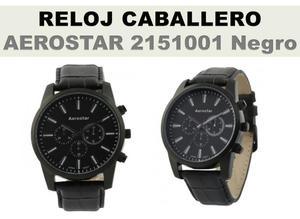 Reloj Caballero Aerostar de Cuero Negro