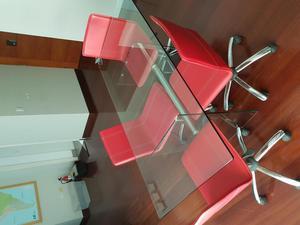 Escritorio en l con vidrio en lima posot class for Muebles de oficina vidrio