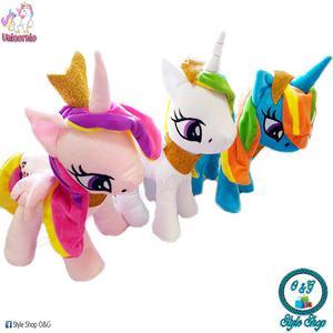 Peluche Pony Unicornio Con Corona Incluye Bolsa De Regalo