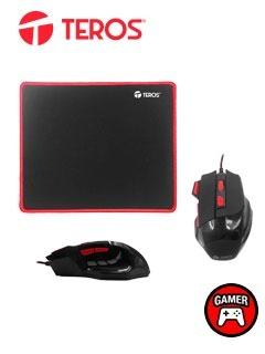 Kit Gamer Teros Gm-906, Mouse Optico + Mousepad De Tela Flex