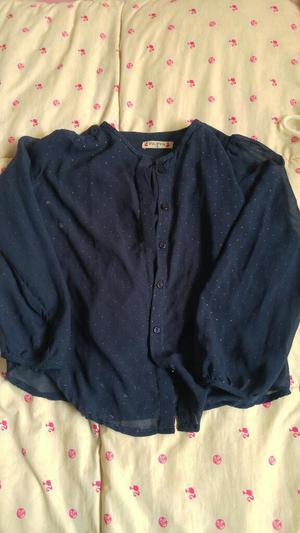 Blusa Pioppa color azul transparente con puntos dorados