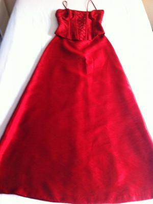 Remato lindo vestido ROJO, de fiesta, Largo, talla S, 2