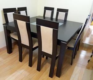 Comedor 8 sillas maderavidrio templado moderno posot class for Juego de comedor de 8 sillas moderno