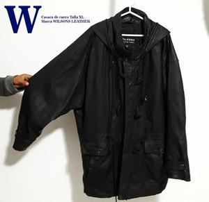 Casaca de cuero, marca WILSONS con capucha XL