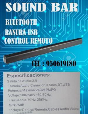 Sound bar 2.0 bluetooth ranura usb NUEVOS