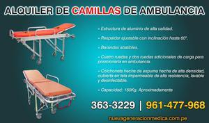 ALQUILER DE CAMILLAS DE AMBULANCIA PARA TRASLADO DE PACIENTE
