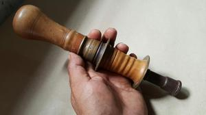 Antiguo Taladro Berbiqui de Madera Y Bronce