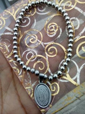 Pulsera de Acero con Medalla Virgen