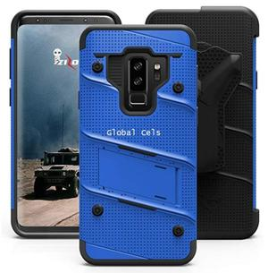 Case Azul Negro Galaxy S9 Plus Vidrio 9h