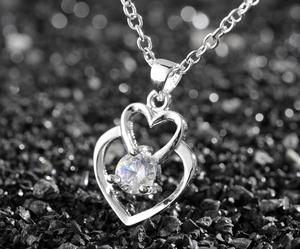 Collar Doble Corazon Zircon Blanco Crystal En Plata 925 Amor
