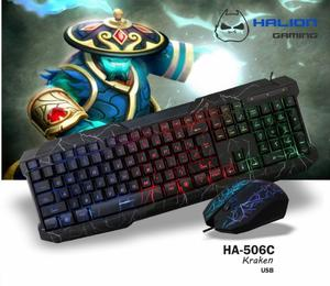 Super Combo Gamer Teclado Y Mouse Iluminado Halion,super