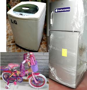 Vendo lavadora lg,refrigeradora y bicicleta barbie