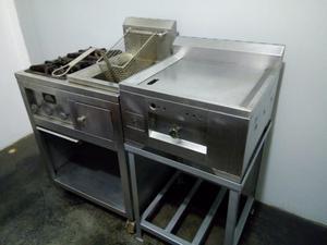 Cocina Freidora Y Plancha de Acero Inoxidable