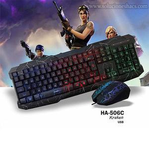 Kit Teclado Y Mouse Gamer Halion Kraken Retroiluminado