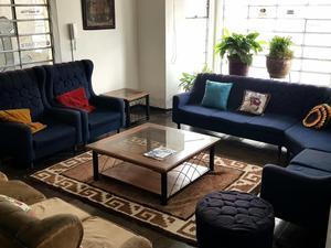 Muebles de sala azul 6 piezas sin mesas