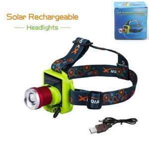 Linterna frontal recargable de cabeza con Zoom y panel solar