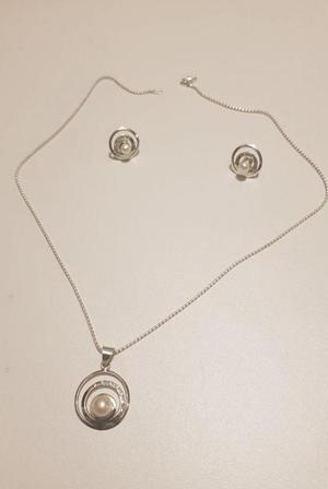 Collar Y Aretes De Plata 950 Con Perlas De Rio