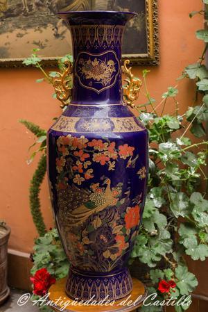 Gran Jarrón Azul Porcelana China Estilo Qing