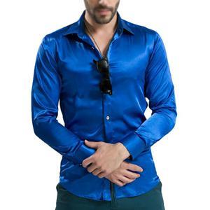 Camisa de Seda Color Azul