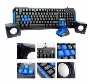Combo Teclado Mouse Y Parlantes Multimedia Teros Cm750 Nuevo