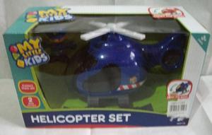 Helicoptero de juguete para niños. En azul y rojo.