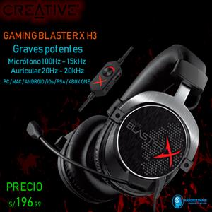 AUDIFONO C/MICROFONO GAMER CREATIVE BLASTERX H3