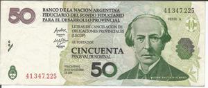 Billete Lecop de Argentina usado Lt. 19