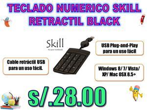 TECLADO NUMERICO SKILL RETRACTIL BLACK