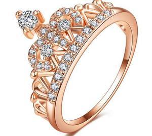 Anillo Compromiso Oro Rosa 18k con Cristales de Austria Amor