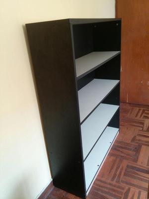 LIBRERO DE MELAMINE Color negro con 4 repisas gris claro
