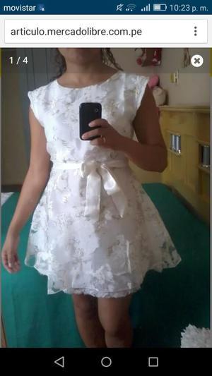Vestido Blanco con Flores Nuevo con Etiqueta TALLAS XS Y S