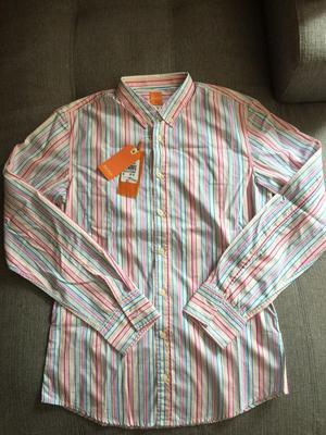 Camisa Ml Hugo Boss Orange Talla M Slim Rayas