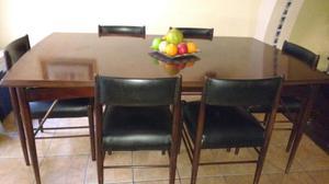 Juego de Comedor de mesa con 6 sillas de fina madera Cedro