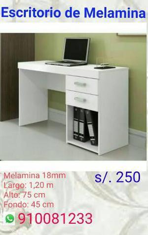 Escritorio De Melamina, Color Blanco