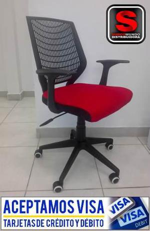 Silla De Oficina Color Rojo Y Negro De Pvc Modelo Q-875