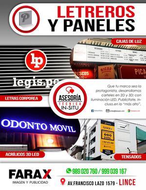 LETREROS CORPÓREOS Y PANELES LUMINOSOS, PUBLICITARIOS EN