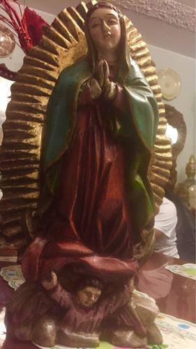 Escultura Virgen Guadalupe En Madera Antigua Pan De Oro.egp.
