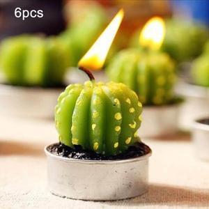 Vela Forma Cera Parafina Cactus Creativo Sin Humo Artesania