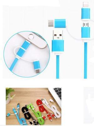 Cable De Datos Usb 3 En 1 / Entrada Tipo Micro, Iphone Y Tpc