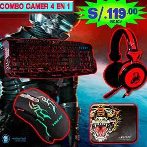 Combo Gamer 4 En 1 Teclado + Audifono + Mouse + Pad Mouse G