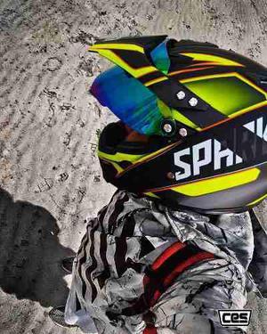 Casco Moto Cross Ces Spark Amarillo Certificacion Dot