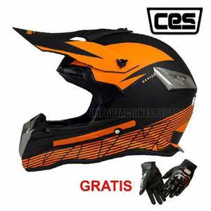 Casco Moto Cross Ces Y Guantes Con Protector S/220