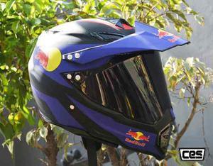 Casco Moto Cross Con Visor Ces Red Bull Certificacion Dot