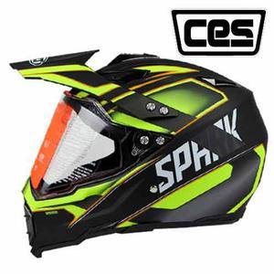 Casco Moto Cross Con Visor Ces Spark Amarillo Certif. Dot
