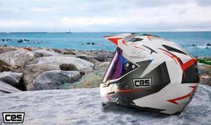 Casco Moto Cross Mica Cert Dot Carbon Blanco Oferta Pegaso